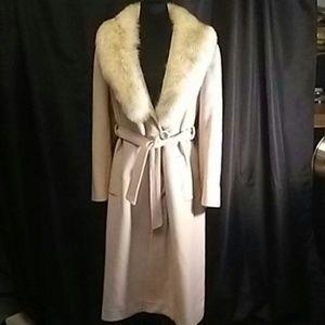 Vintage Alorna 100% Wool Coat w/ Real Fox Fur